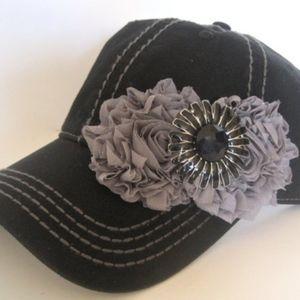 Baseball Cap Trucker Hat Black with Flowers